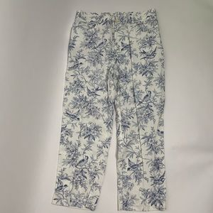Lauren Ralph Lauren White & Blue Bird Design Pants